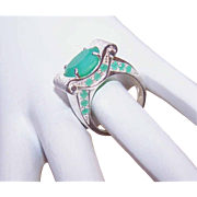 Vintage STERLING SILVER & 10.4CT TW Faceted Chrysoprase Fashion Ring!
