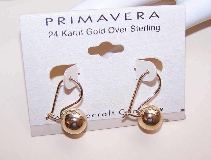 Vintage STERLING SILVER Vermeil Earrings - Golden Balls!