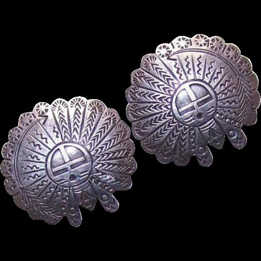 Vintage SOUTHWESTERN Sterling Silver Earrings!
