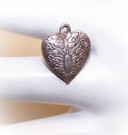 Vintage STERLING SILVER Puffy Heart Charm - Floral with Oval Panel for Engraving!