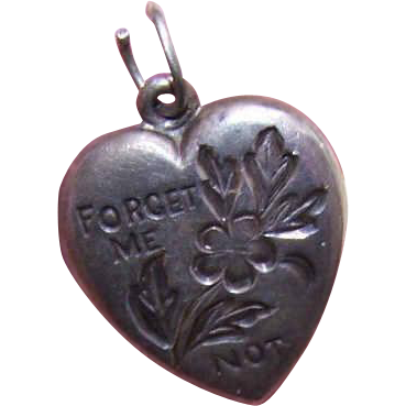 Vintage STERLING SILVER Puffy Heart Charm - Forget Me Not Engraved Gene!