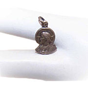 Small STERLING SILVER Religious Charm/Medal - Profile of Jesus!