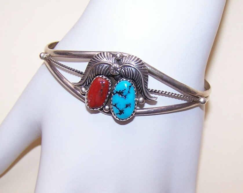 Vintage Native American/Southwestern STERLING SILVER, Red Coral & Turquoise Cuff Bracelet!
