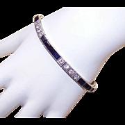 Fabulous ART DECO 14K Gold, 9CT TW Diamond & Sapphire Line Bracelet!