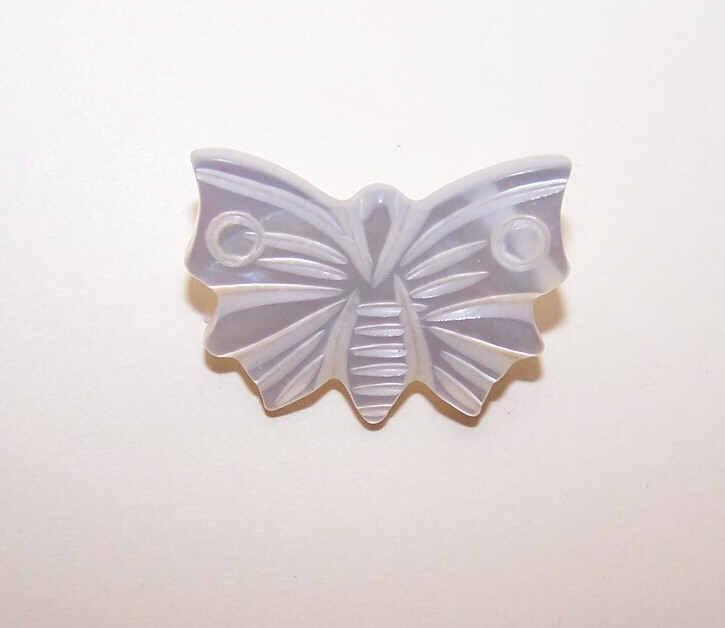 Vintage Edwardian Carved MOTHER OF PEARL Button - Butterfly!