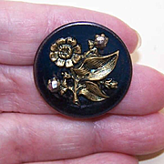 ANTIQUE VICTORIAN Blue Metal, Cut Steel & Gold Tone Metal Floral Button!