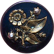 ANTIQUE VICTORIAN Blue Metal, Cut Steel & Gold Tone Metal Floral Button!