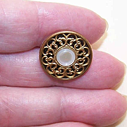 French ANTIQUE EDWARDIAN Mother of Pearl & Gold Tone Filigree Button!