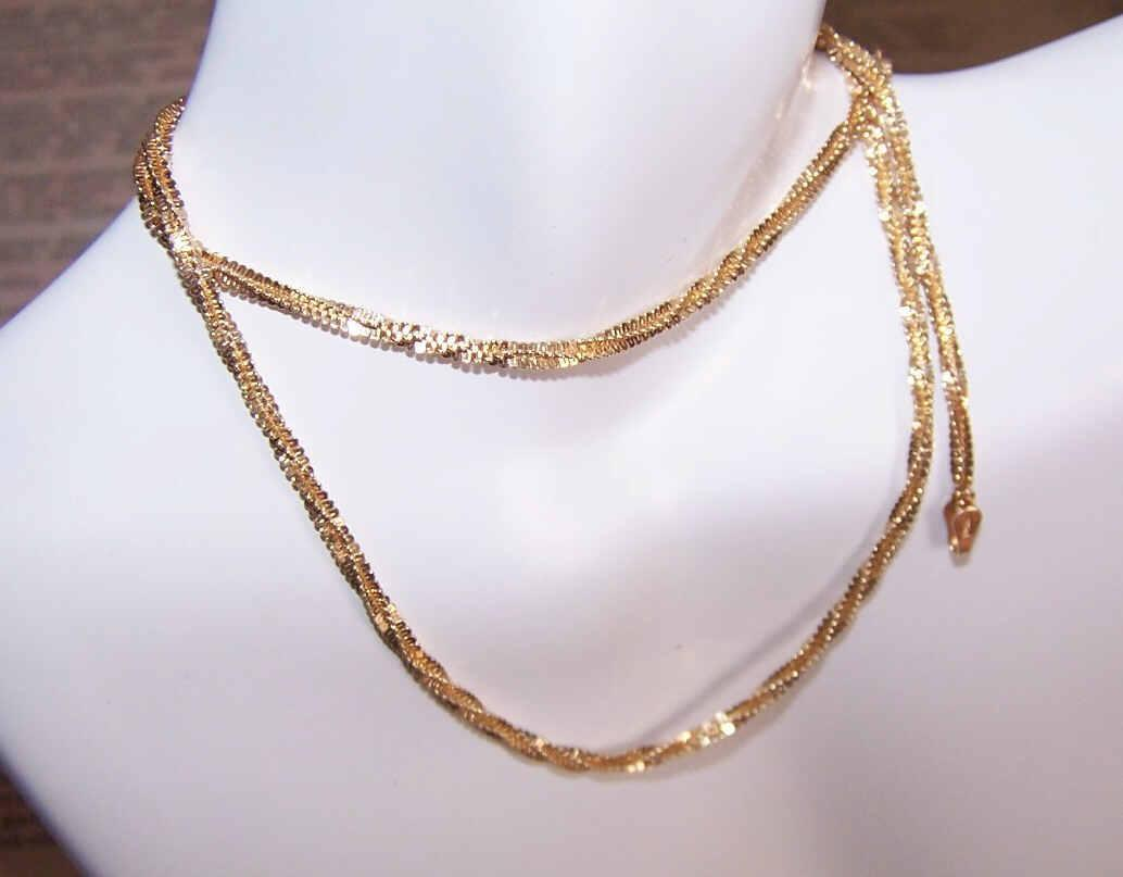 "Vintage ITALIAN Sterling Silver Vermeil 18-3/4"" Tinsel/Twist Chain!"