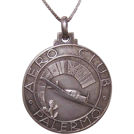 Fabulous 1950s AERO CLUB PALERMO Disc Medal with Airplane!