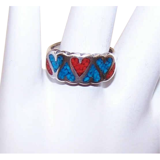 Vintage STERLING SILVER, Red Coral & Turquoise Inlay Ring - Hearts!