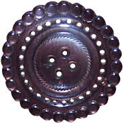 Classic VICTORIAN Mother of Pearl Button - Carved Grey/Black Round!