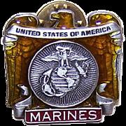 Vintage Pewter & Cold Enamel Pin Lapel Pin - US Marines/American Legion!