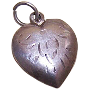 Vintage STERLING SILVER Puffy Heart Charm - Engraved Nancy!