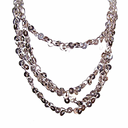 "Vintage STERLING SILVER 54"" Chain Necklace - Sequin-Like Discs!"