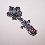 Vintage STERLING SILVER, Red Coral & Turquoise Pendant!