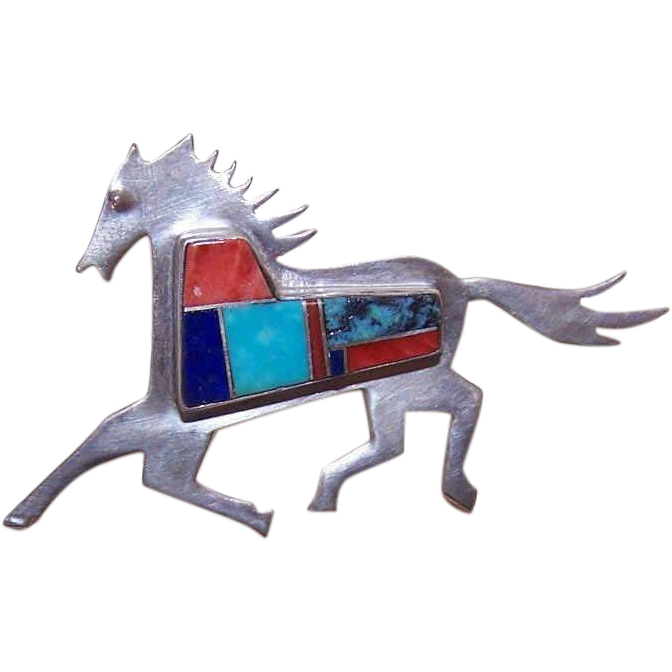 Vintage STERLING SILVER & Inlay Pin/Brooch by Madeline Beyuka - Prancing Horse!