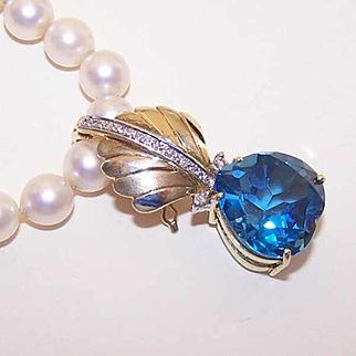 Ravishing Estate 14K Gold, Diamond & BLUE SPINEL Necklace Enhancer or Pendant!