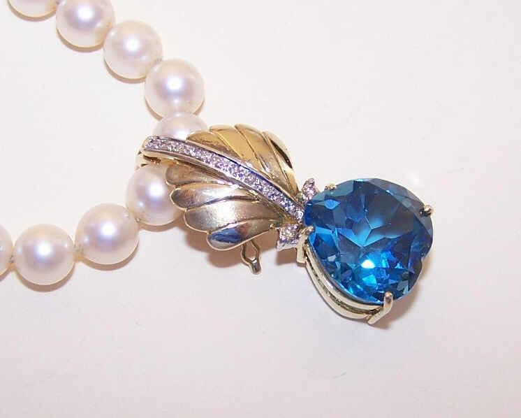 Ravishing Estate 14K Gold, Diamond & BLUE SPINEL Necklace Enhancer or Pendant!