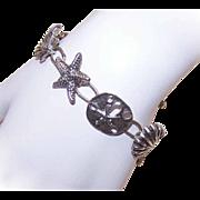 Vintage STERLING SILVER Link Bracelet - Clam Shells, Starfish & Sand Dollars!