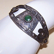 Native American FRED HARVEY ERA Sterling Silver & Turquoise Thunderbird Cuff Bracelet!