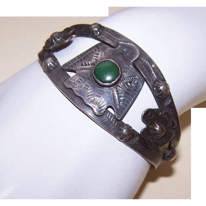 Native American FRED HARVEY ERA Sterling Silver & Turquoise Thunderbird Cuff Bracelet!