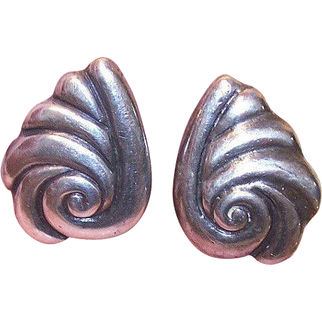 Vintage Mexican STERLING SILVER Screwback Earrings - Swirl Front!