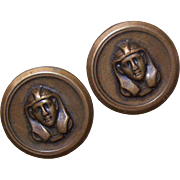 Set/2 C.1950 Brass Buttons - Head of Egyptian Pharaoh!