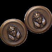 Set/2 C.1950 Brass Buttons - Head of Egyptian Pharaoh!