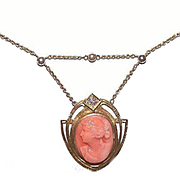 ANTIQUE VICTORIAN 14K Gold, Diamond & Coral Cameo Necklace!