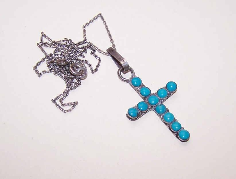 Vintage STERLING SILVER & Turquoise Cross Pendant on Chain!