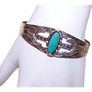 Vintage Native American/Southwest STERLING SILVER & Turquoise Cuff Bracelet!