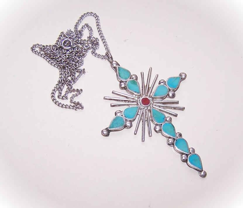 Vintage STERLING SILVER & Inlaid Turquoise/Red Coral Cross Pendant!