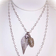 Vintage STERLING SILVER Chain Necklace with Pine Cone & Leaf Pendants!