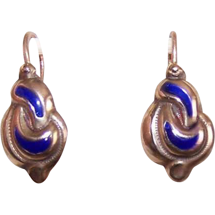 ANTIQUE VICTORIAN 9K Gold & Blue Enamel Pierced Earrings!