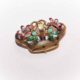 ANTIQUE VICTORIAN 14K Gold, Diamond & Enamel Watch Pin - Royal Crown!
