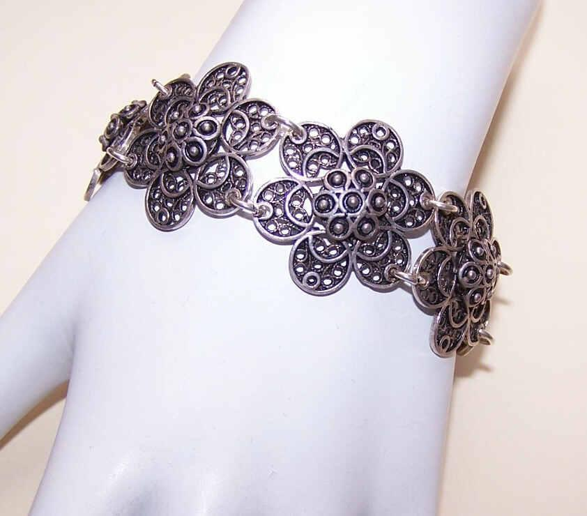 Vintage STERLING SILVER Filigree Bracelet - Wide Floral Links!