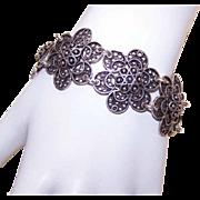 Vintage STERLING SILVER Filigree Bracelet - Wide Floral Links!