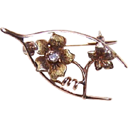 ANTIQUE EDWARDIAN 14K Gold & Diamond Sweetheart Pin/Brooch - Wishbone/Floral!