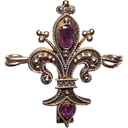 VICTORIAN REVIVAL Silver Gilt & Garnet Fleur de Lis Flowered Watch Pin!