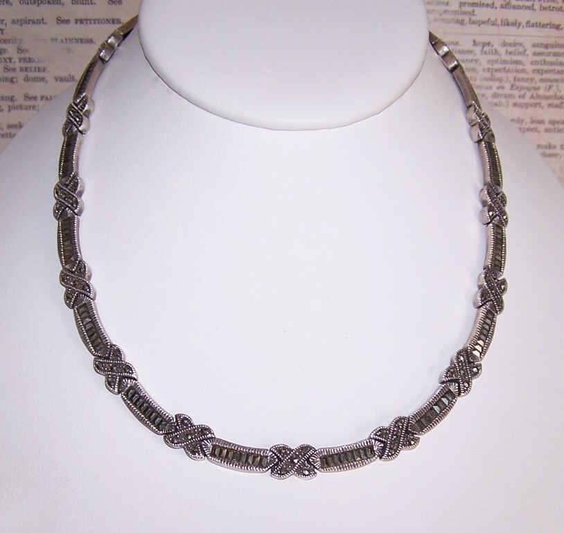 Stunning STERLING SILVER & Marcasite Link Necklace!