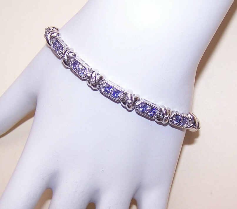 Stunning STERLING SILVER & Tanzanite Cubic Zirconia Link Bracelet!