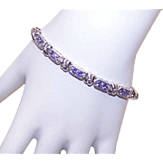 Stunning STERLING SILVER & Tanzanite Cubic Zirconia Link Bracelet!