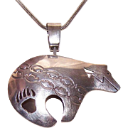 Vintage STERLING SILVER Bear Pendant by Ernest Pino - One of a Kind!