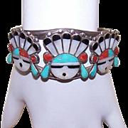 Vintage ZUNI Sterling Silver & Inlay Stone Cuff Bracelet - Face Design!
