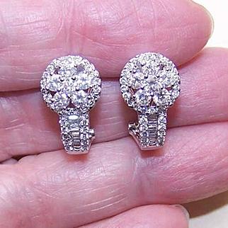 """ESTATE 14K Gold & 1.58CT TW Diamond """"J"""" Half Hoop Earrings!"""