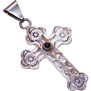 Vintage MEXICAN Sterling Silver & Black Onyx Cross Pendant!