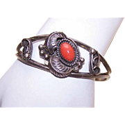 Vintage Native American/Southwest STERLING SILVER & Red Coral Cuff Bracelet!