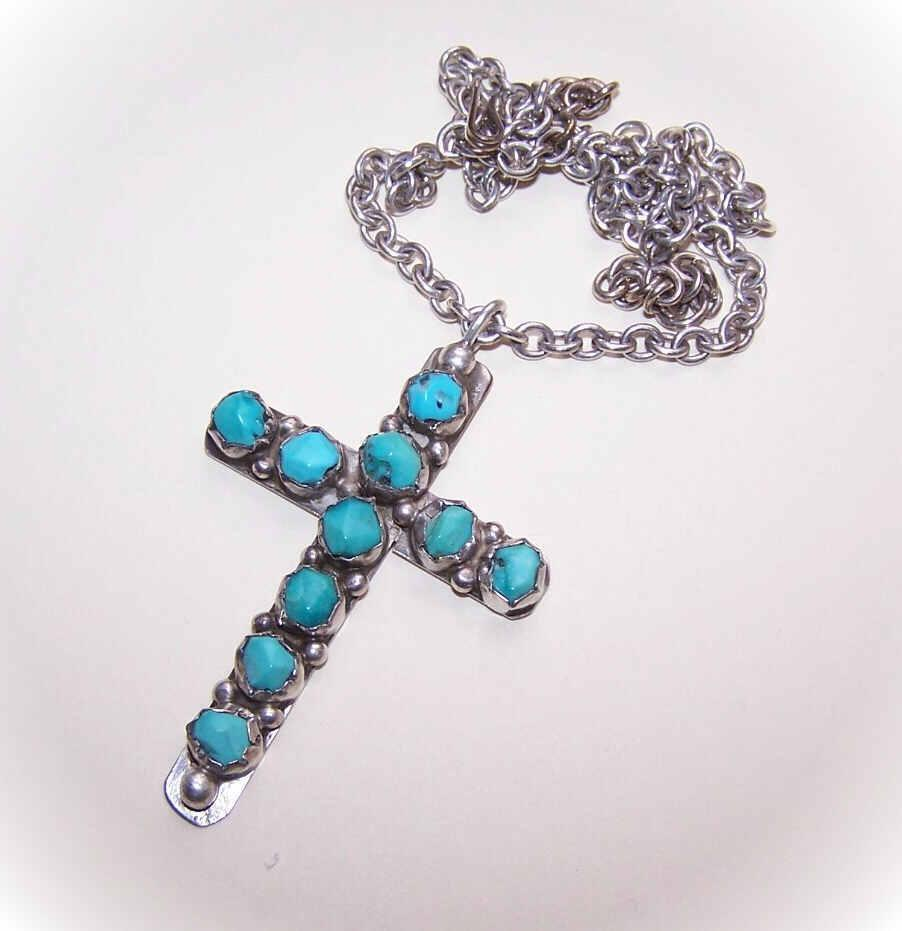 Vintage Native American/Southwest Indian STERLING SILVER & Turquoise Cross Pendant on Chain!