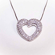 ESTATE 14K Gold & 1CT TW Diamond Heart Pendant!